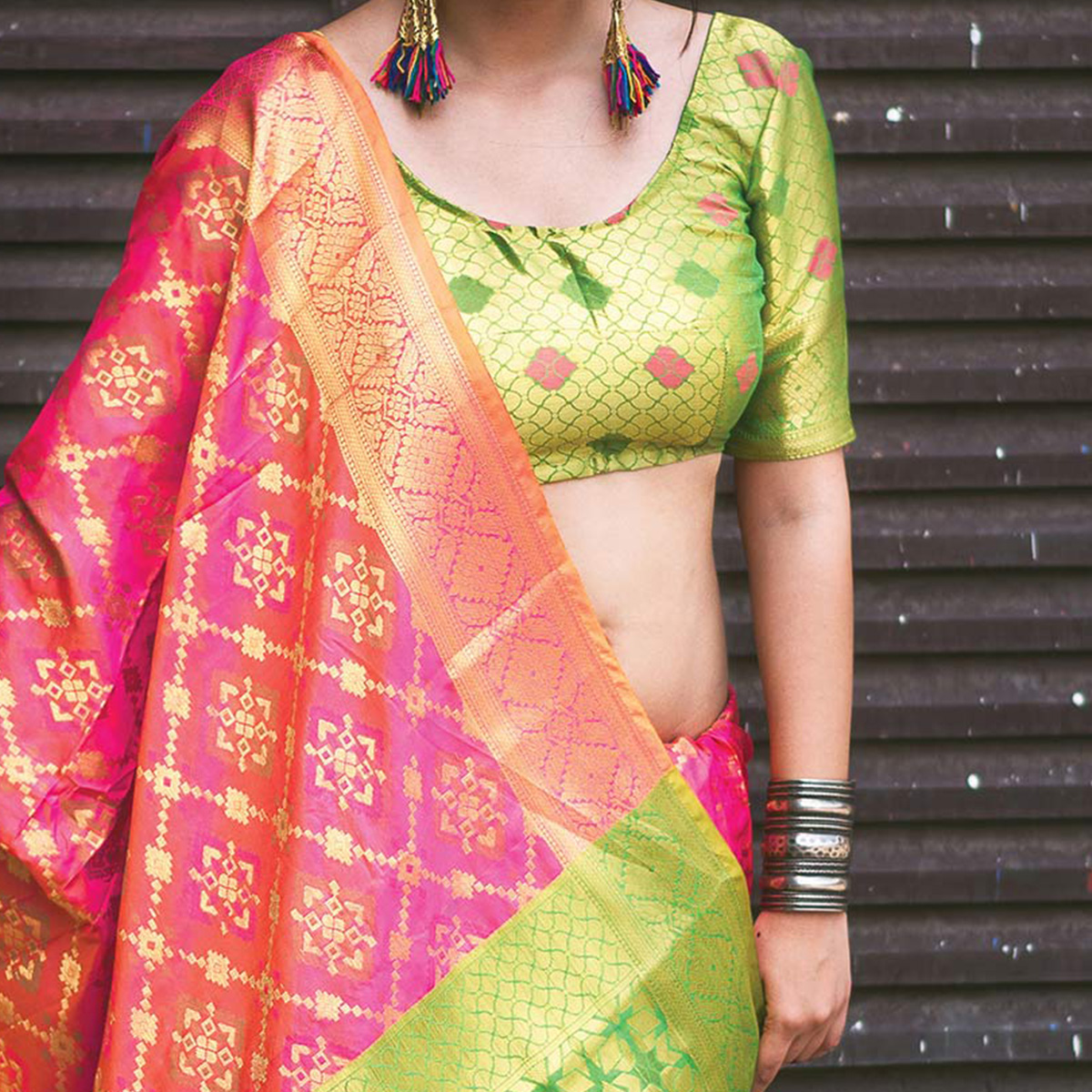 Lovely Pink Colored Festive Wear Designer Woven Patola Silk Saree