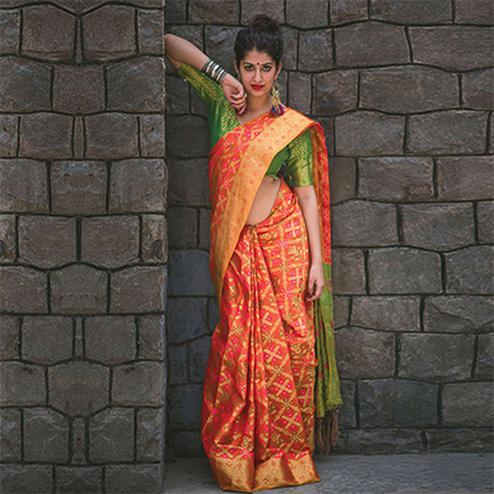 Stunning Orange Colored Festive Wear Designer Woven Patola Silk Saree