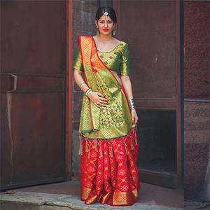 Ravishing Red Colored Festive Wear Designer Woven Patola Silk Saree