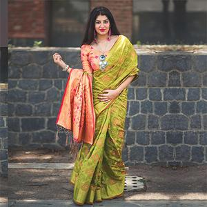 Marvellous Light Green Colored Festive Wear Designer Woven Patola Silk Saree