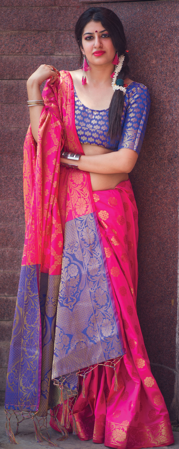 Stunning Rani Pink Colored Festive Wear Designer Woven Patola Silk Saree