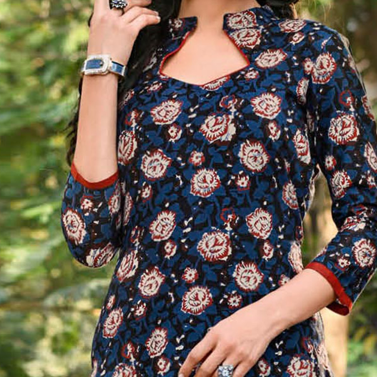 Mystic Navy Blue Colored Floral Printed Jetpur Cotton Kurti