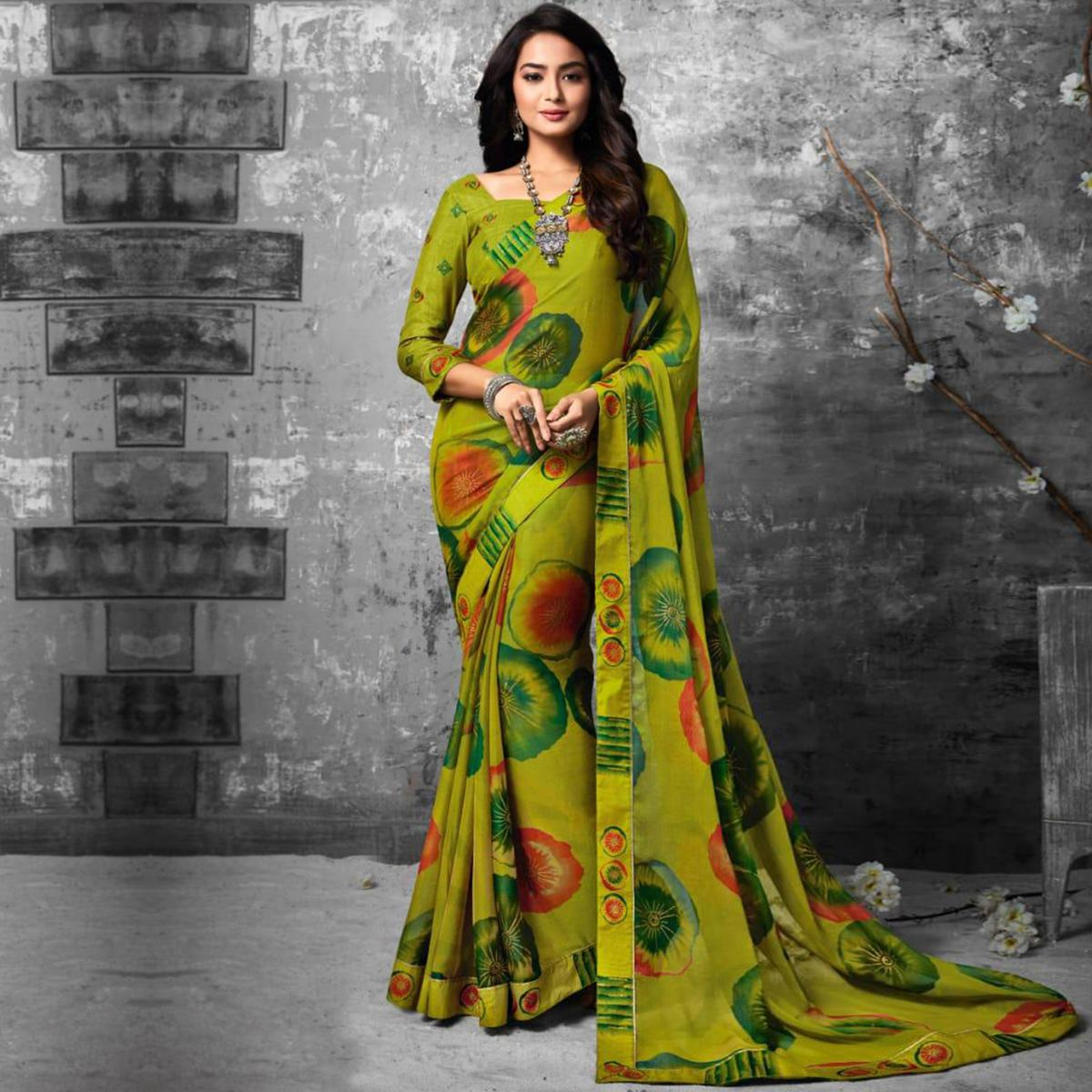 Light Green Partywear Abstract Printed Pure Chiffon Foil Fancy Saree