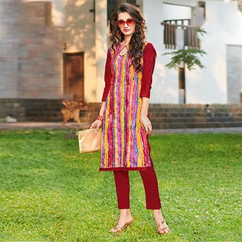 Elegant Multi Colored Casual Casual Printed Jetpur Cotton Kurti