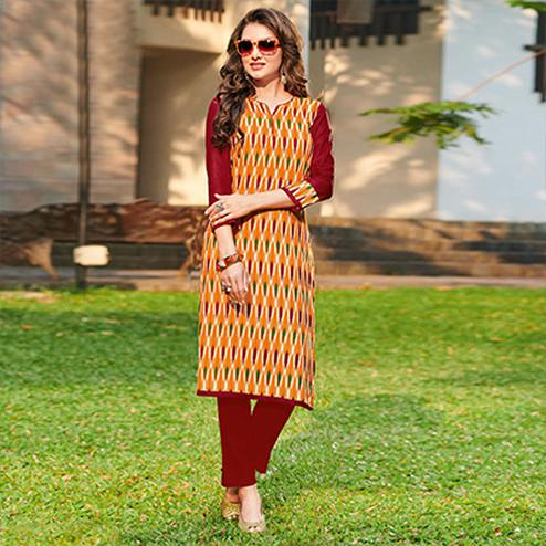 Mesmerising Yellow Colored Casual Printed Jetpur Cotton Kurti