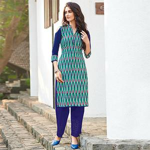 Gorgeous Teal Colored Casual Printed Jetpur Cotton Kurti
