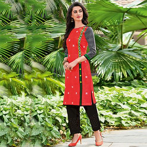 Dignified Tomato Red Colored Casual Printed Jetpur Cotton Kurti