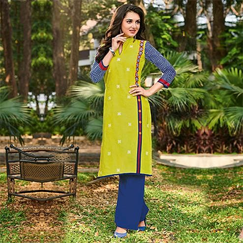 Refreshing Lemon Green Colored Casual Printed Jetpur Cotton Kurti