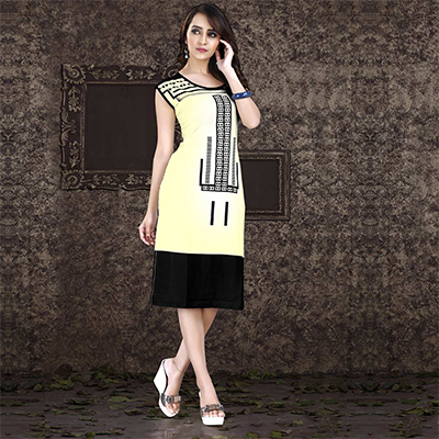 Light Yellow - Black Casual Printed Kurti