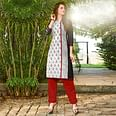 Snazzy White-Black Colored Casual Printed Jetpur Cotton Kurti