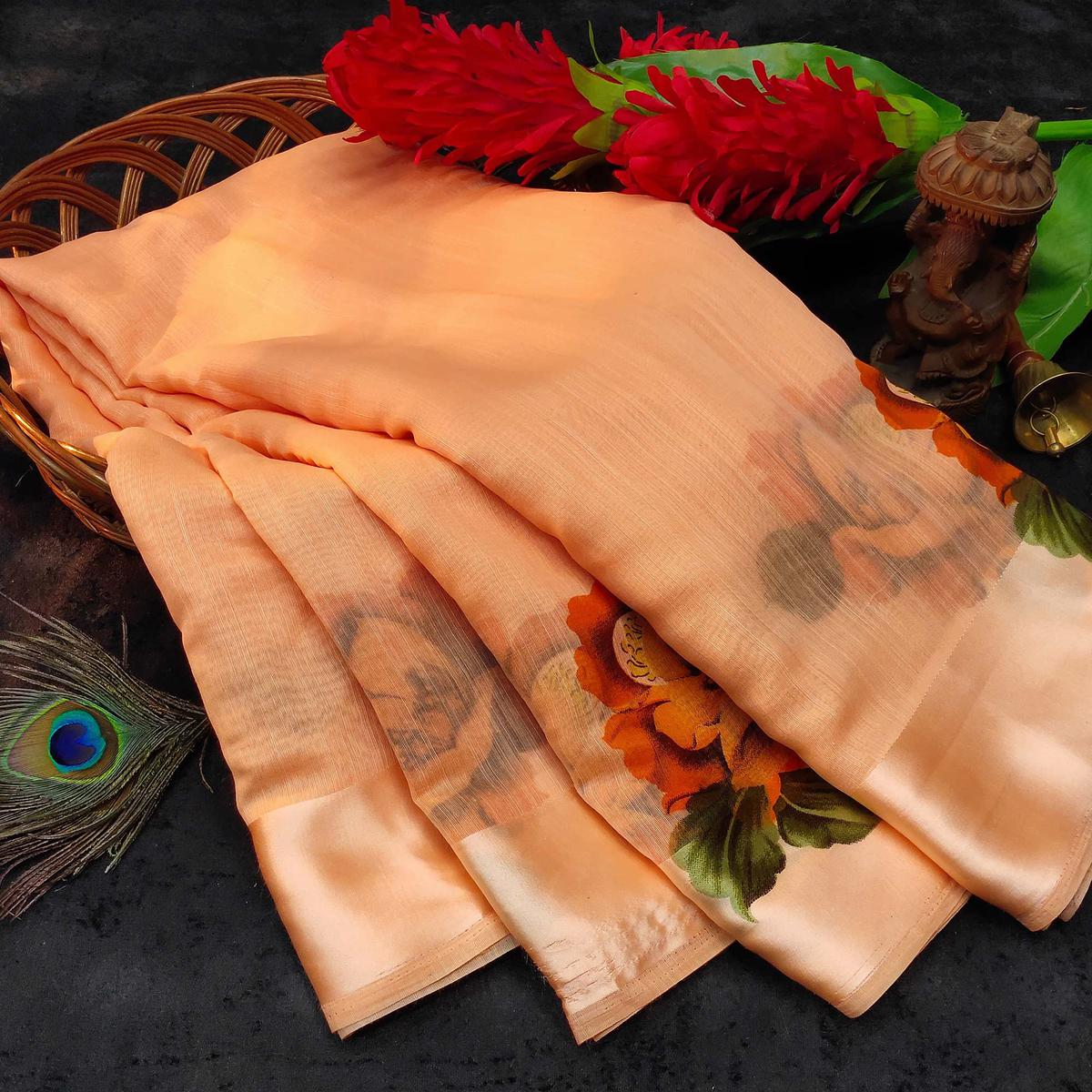 Light Peach Casual Wear Floral Printed Linen Saree With Satin Patta