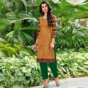 Modern Yellow Colored Casual Printed Jetpur Cotton Kurti
