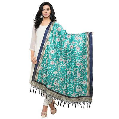 Turquoise Green Colored floral Printed Khadi Silk Dupatta