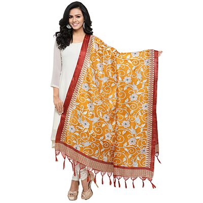 Yellow Colored floral Printed Khadi Silk Dupatta