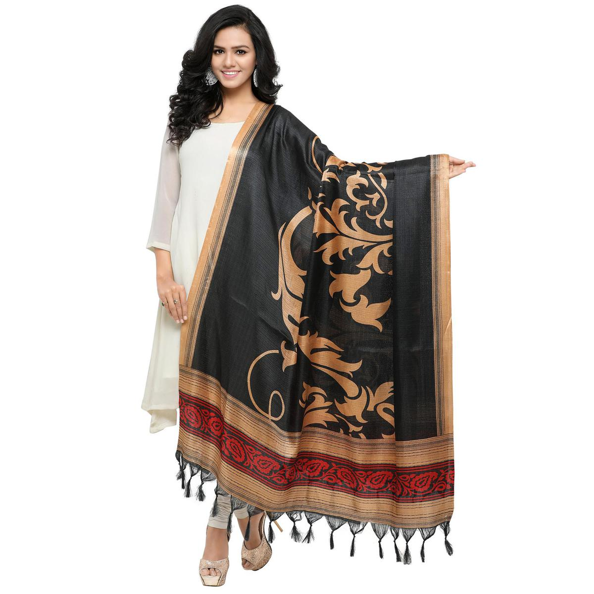 Black Colored floral Printed Khadi Silk Dupatta