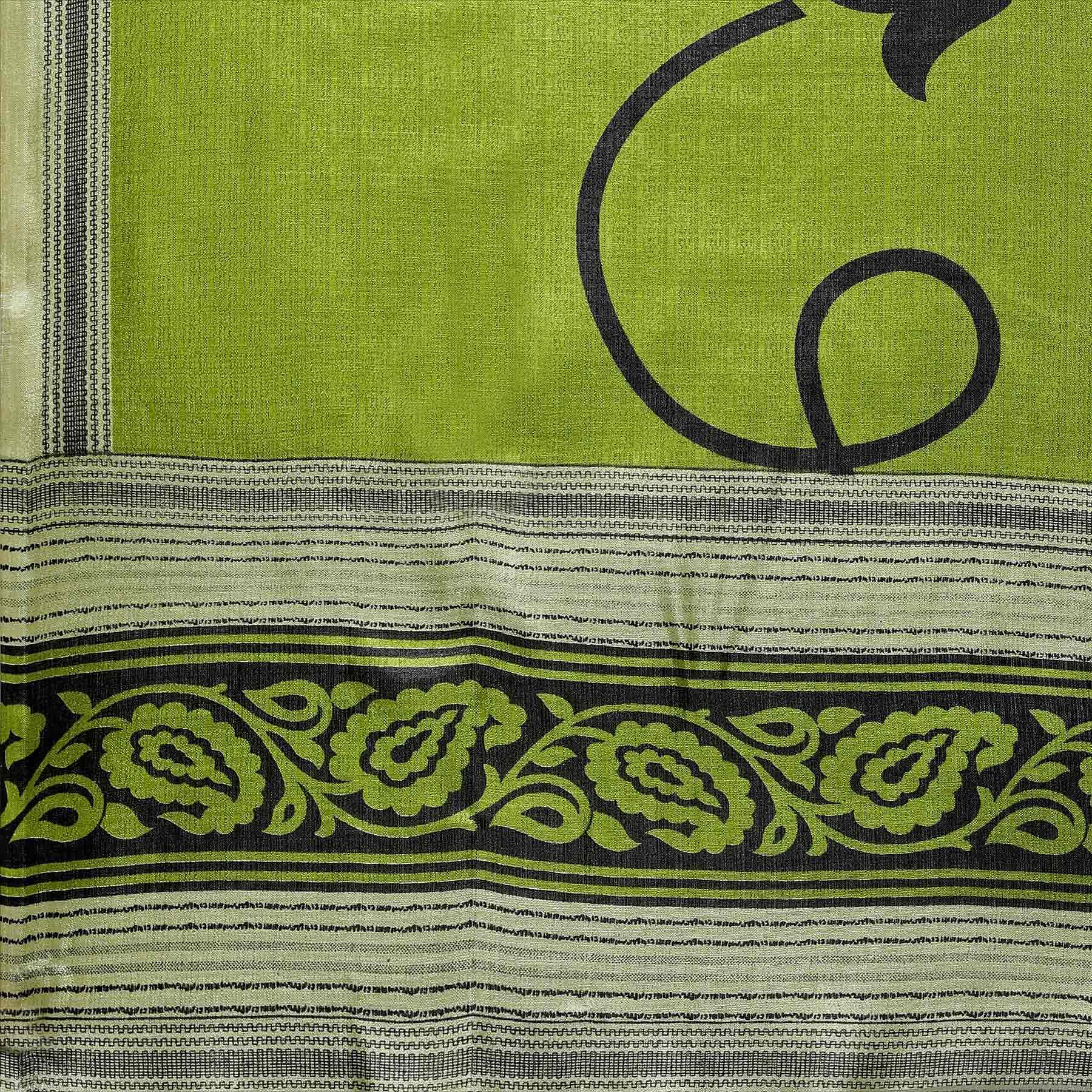 Green Colored floral Printed Khadi Silk Dupatta