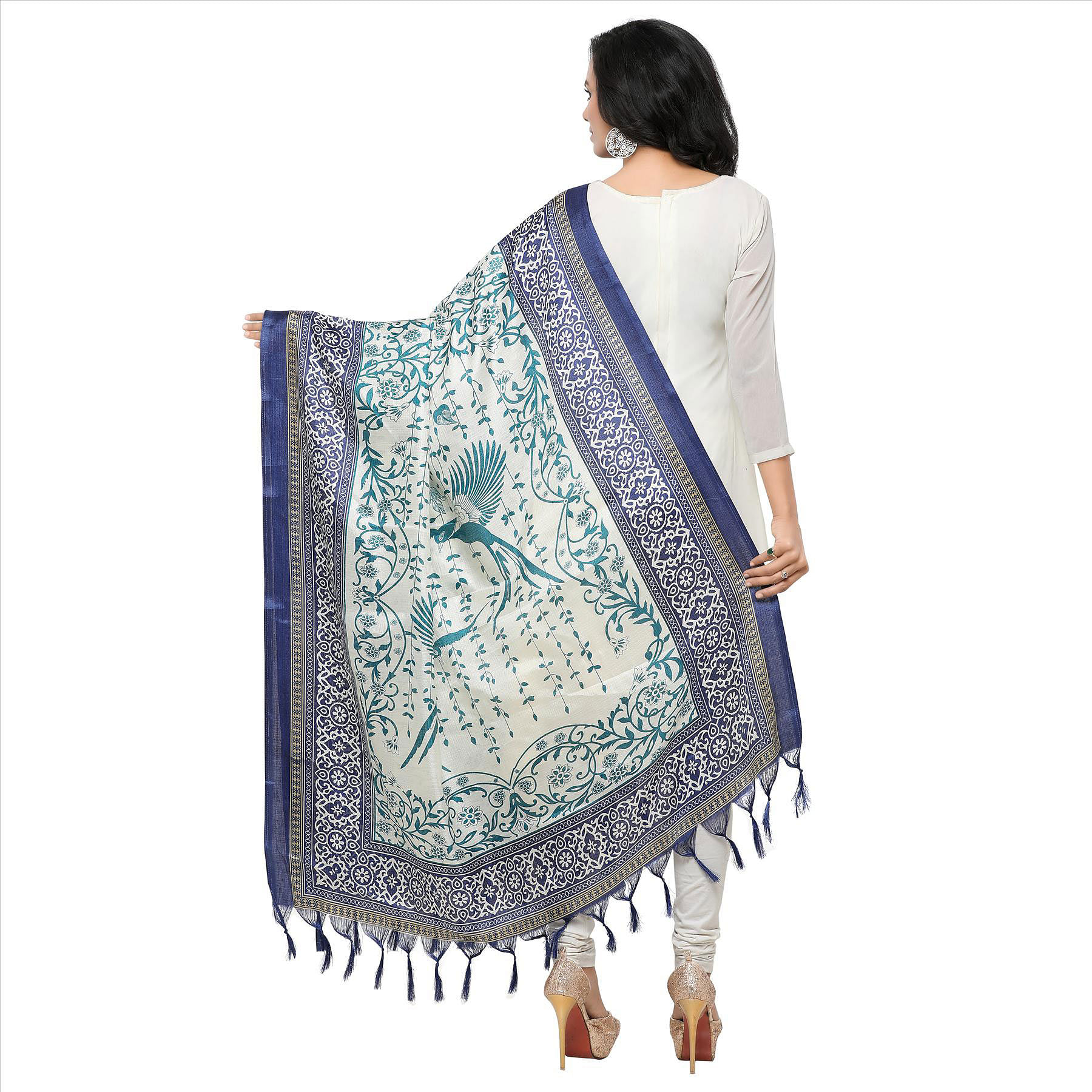 Cream-Navy Blue Colored floral Printed Khadi Silk Dupatta