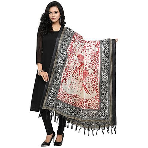 Cream-Black Colored floral Printed Khadi Silk Dupatta