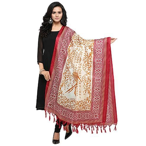 Cream-Red Colored floral Printed Khadi Silk Dupatta