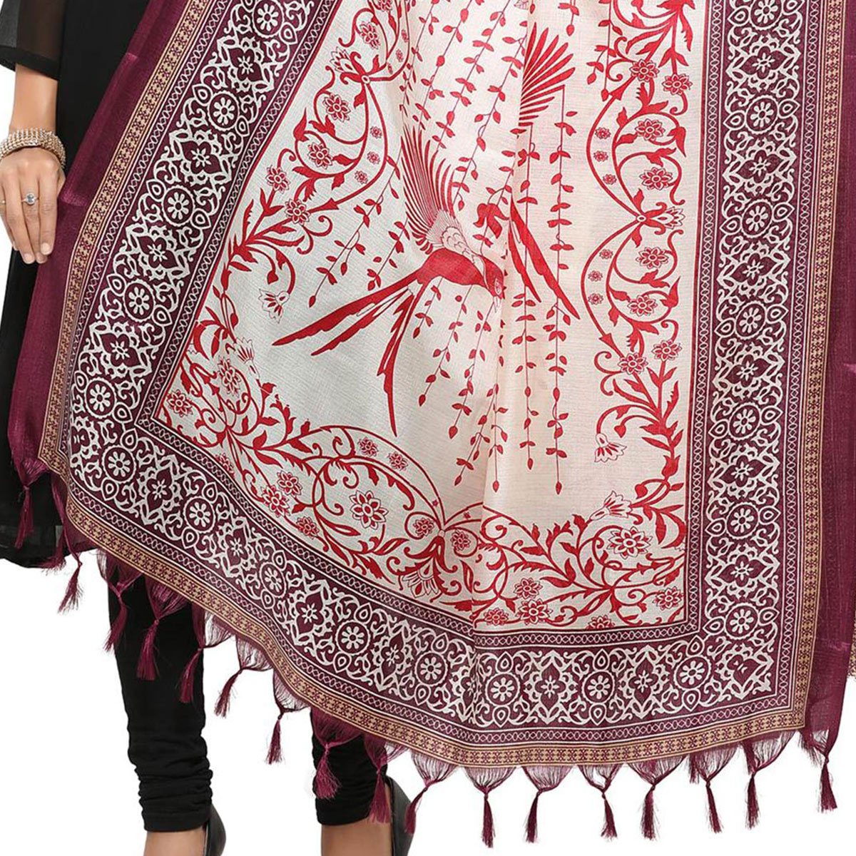 Cream-Magenta Colored floral Printed Khadi Silk Dupatta