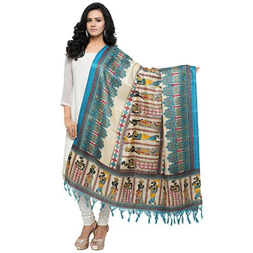 Cream-Sky Blue Colored Human Printed Khadi Silk Dupatta