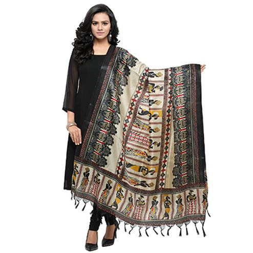 Cream-Black Colored Human Printed Khadi Silk Dupatta