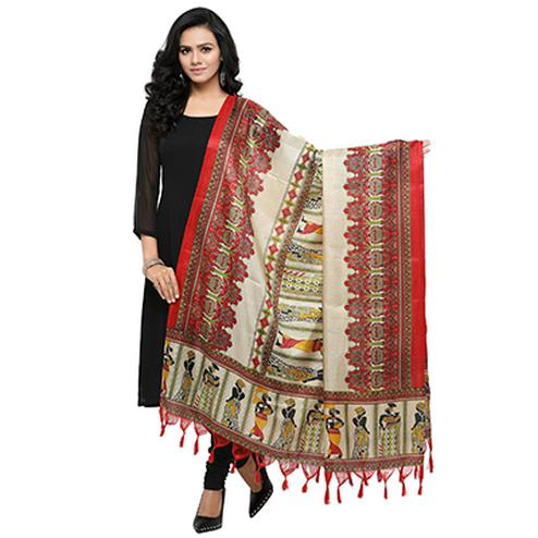 Cream-Red Colored Human Printed Khadi Silk Dupatta