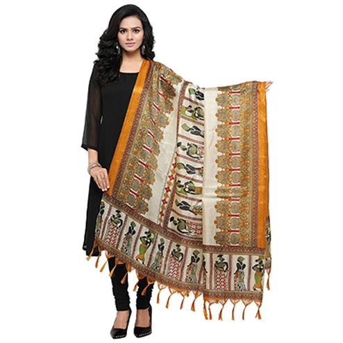 Cream-Yellow Colored Human Printed Khadi Silk Dupatta