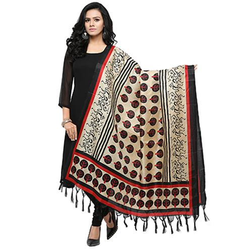 Cream-Black Colored Printed Khadi Silk Dupatta