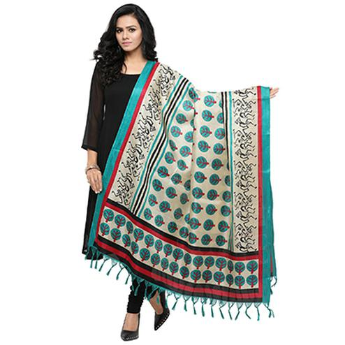 Cream-Sky Blue Colored Printed Khadi Silk Dupatta