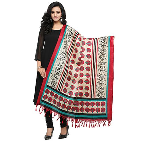 Cream-Red Colored Printed Khadi Silk Dupatta