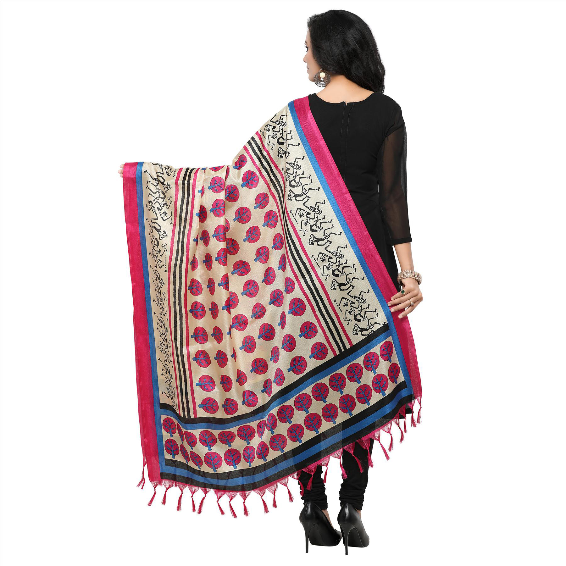 Cream-Pink Colored Printed Khadi Silk Dupatta