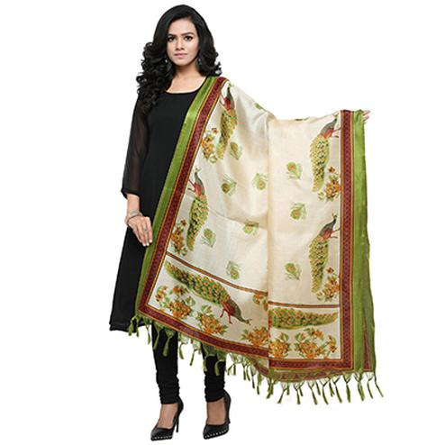 Cream-Green Colored Peacock Printed Khadi Silk Dupatta