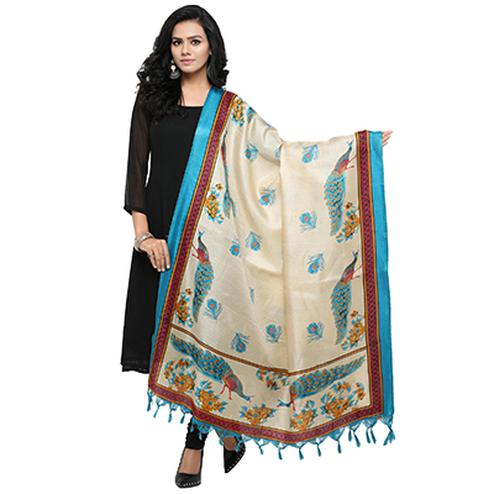 Cream-Sky Blue Colored Peacock Printed Khadi Silk Dupatta