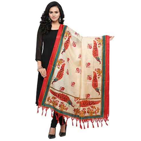 Cream-Red Colored Peacock Printed Khadi Silk Dupatta