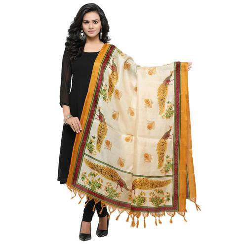 Cream-Yellow Colored Peacock Printed Khadi Silk Dupatta
