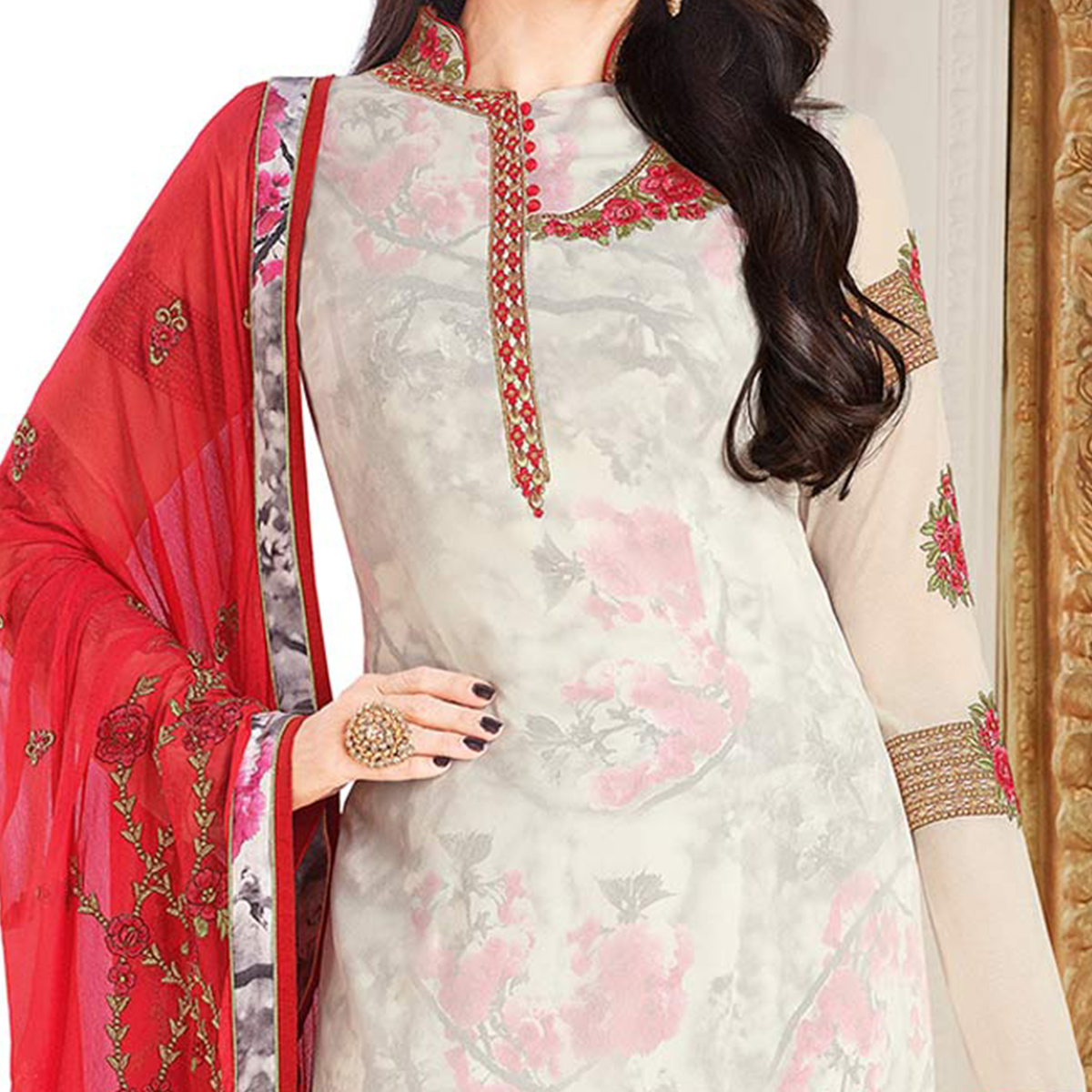 Engrossing White Colored Designer Embroidered Partywear Georgette Salwar Suit