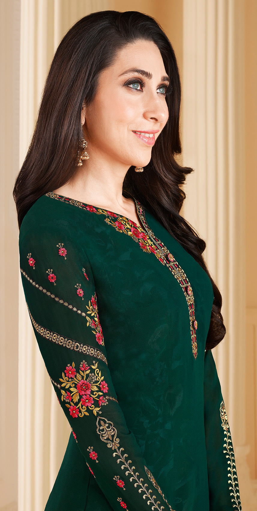 Specialised Dark Green Colored Designer Embroidered Partywear Georgette Salwar Suit