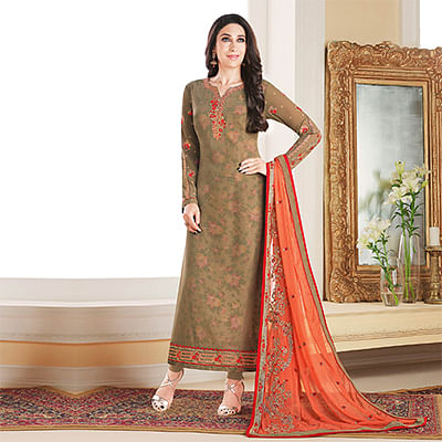 Amusing Beige Colored Designer Embroidered Partywear Georgette Salwar Suit