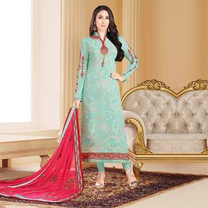 Impressive Aqua Blue Colored Designer Embroidered Partywear Georgette Salwar Suit