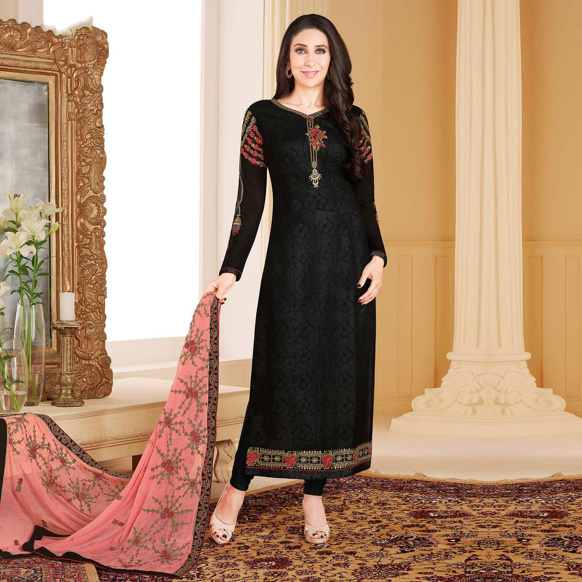 fbc144e798 Buy Graceful Black Colored Designer Embroidered Partywear Georgette Salwar  Suit Online India, Best Prices, Reviews - Peachmode