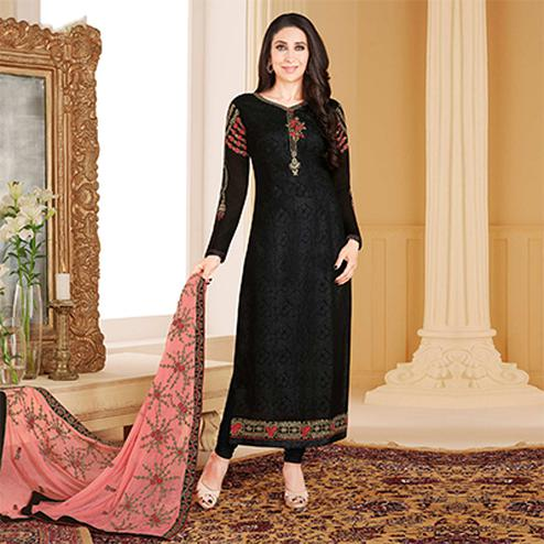 Graceful Black Colored Designer Embroidered Partywear Georgette Salwar Suit
