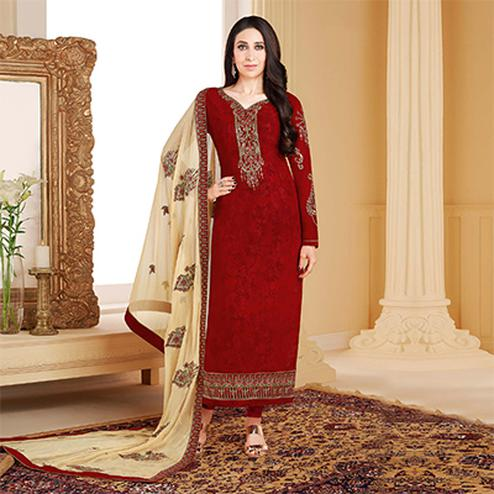 Irresistible Blood Red Colored Designer Embroidered Partywear Georgette Salwar Suit