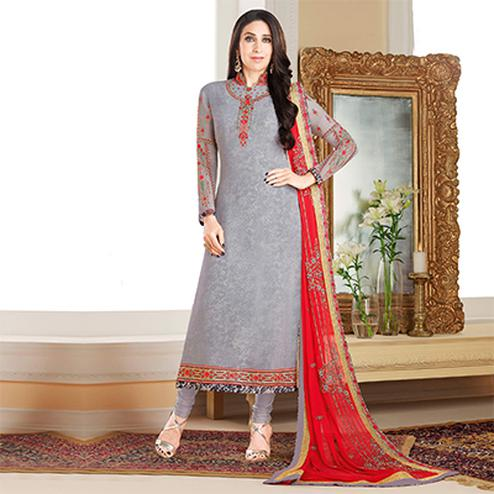 Magnetic Grey Colored Designer Embroidered Partywear Georgette Salwar Suit