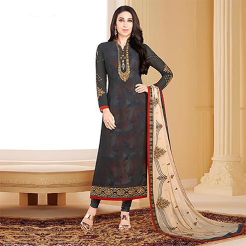 Deserving Black Colored Designer Embroidered Partywear Georgette Salwar Suit