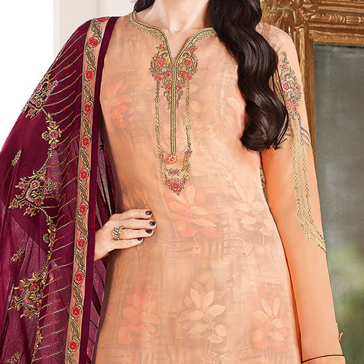 Blissful Light Orange Colored Designer Embroidered Partywear Georgette Salwar Suit