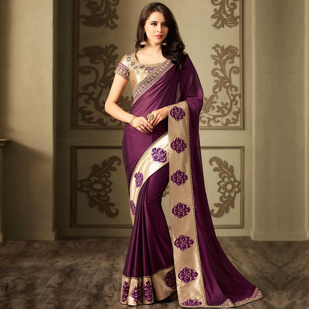 7ef1921825 Buy Dazzling Purple Colored Designer Embroidered Silk Saree for womens  online India, Best Prices, Reviews - Peachmode