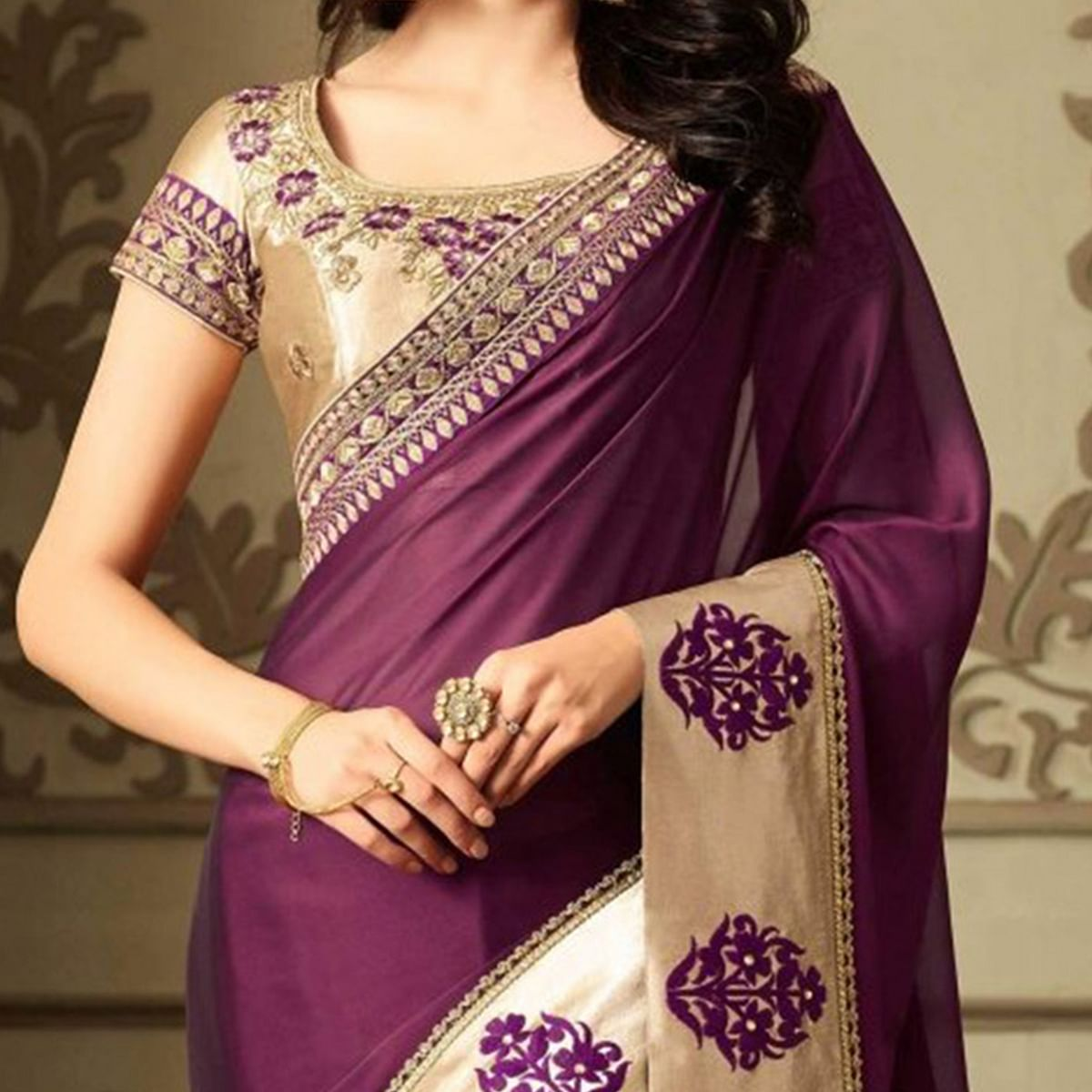 Dazzling Purple Colored Designer Embroidered Silk Saree