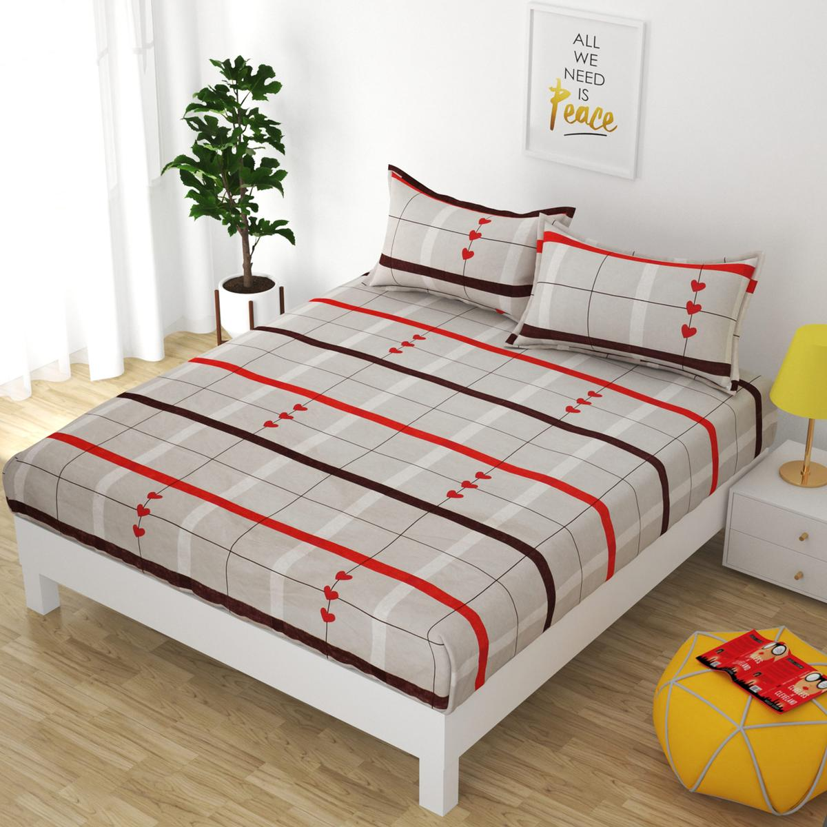 Adirav - Attractive Classy Fitted Beige Color Printed Double Bedsheet With Two Pillow Cover