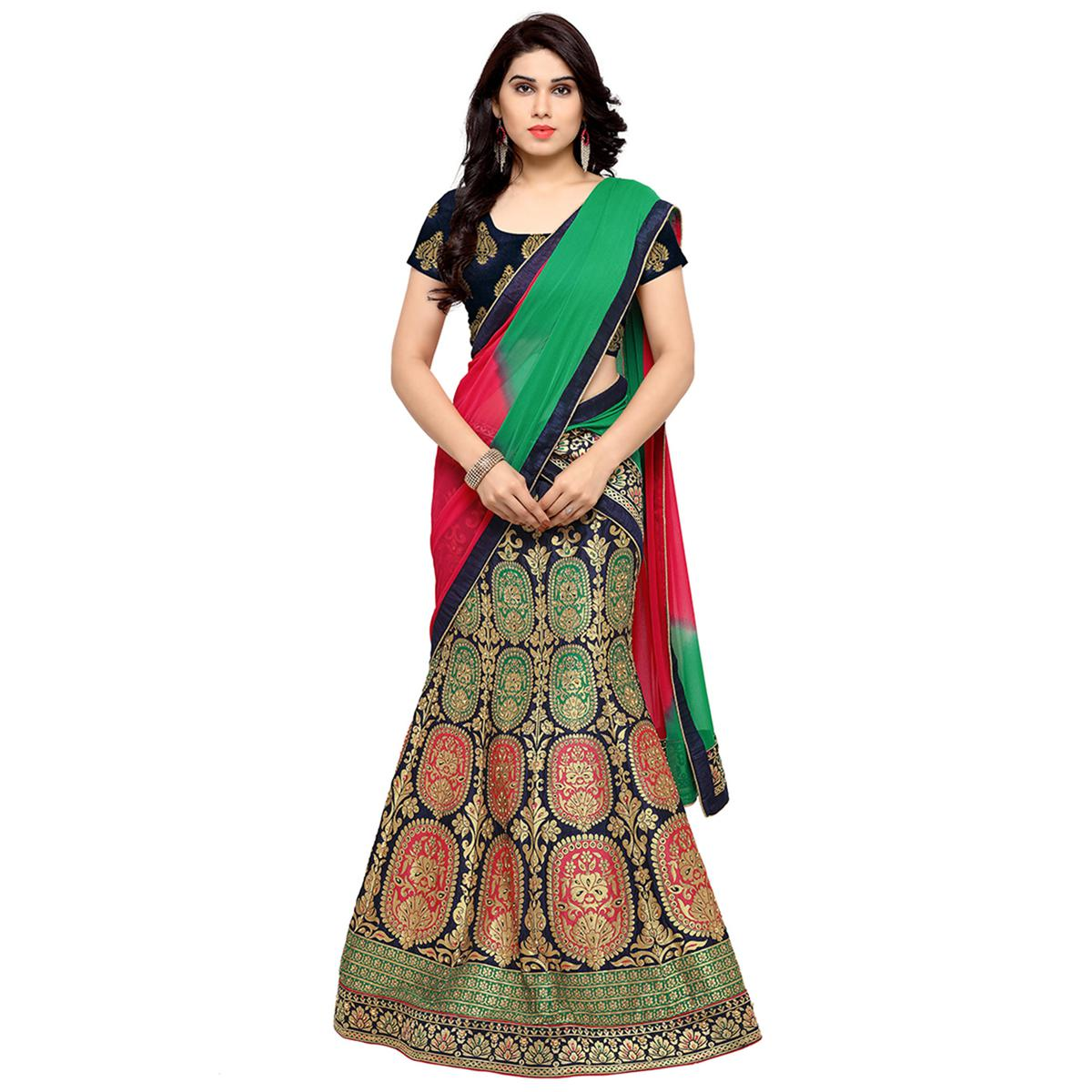 Navy Blue Colored Banarasi Work Jacquard Silk Lehenga Choli